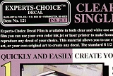 EXPERTS CHOICE Decal transparent (1 feuille)